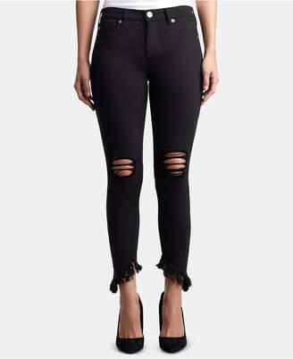 True Religion Halle Ripped Asymmetrical-Hem Jeans