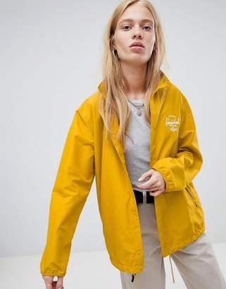 Herschel voyage packable coach jacket back logo print in yellow