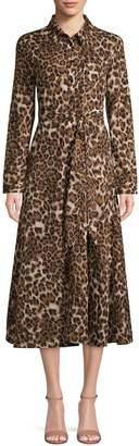 Lea & Viola Leopard-Print Midi Shirtdress