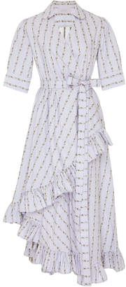 Luisa Beccaria M'O Exclusive Ruffled Cotton Wrap Dress