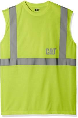 Caterpillar Men's Big and Tall Sleeveless T-Shirt, Hi Vis Yellow