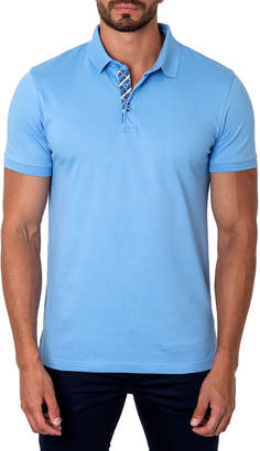 Jared Lang Semi-Fitted Short-Sleeve Cotton-Blend Polo Shirt, Light Blue
