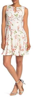 Gabby Skye Sleeveless Floral Scuba Dress