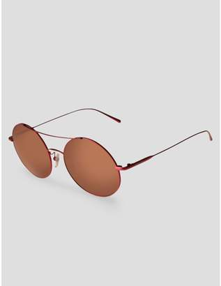 Calvin Klein round high bar mirrored sunglasses