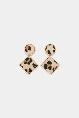Ardene Leopard Faux Fur Drop Earrings