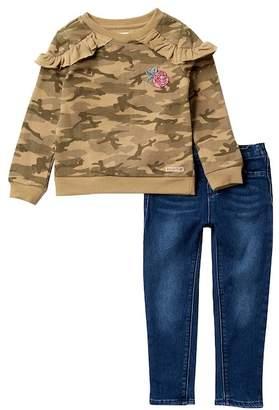 Hudson Slub Jersey Ruffle Pullover & Jeans Set (Toddler Girls)