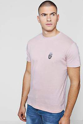 boohoo Mens Crew Neck T-Shirt With Chest Embroidery