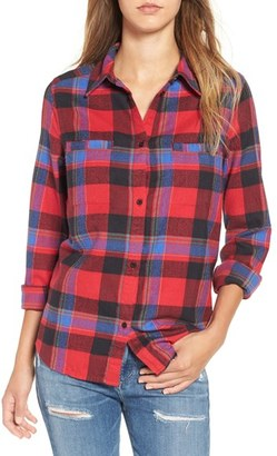 Roxy 'Campay' Zip Detail Plaid Shirt $49.50 thestylecure.com