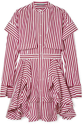 Alexander McQueen Asymmetric Layered Striped Cotton-poplin Mini Dress