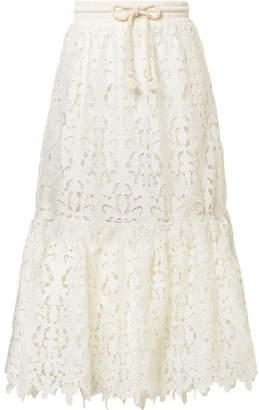 See by Chloe Guipure Lace Midi Skirt - Ivory