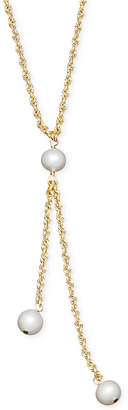 Honora Style Cultured Freshwater Pearl Rope Chain Lariat Necklace in 14k Gold (6mm)