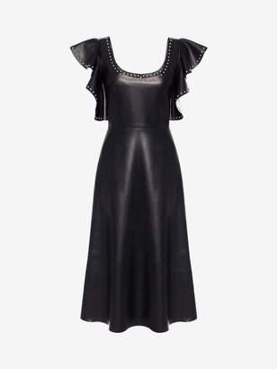 Alexander McQueen Leather Ruffle Midi Dress