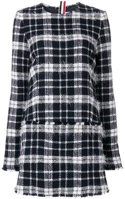 Thom Browne Frayed Tartan Mini Shift Dress In Lightweight Tweed