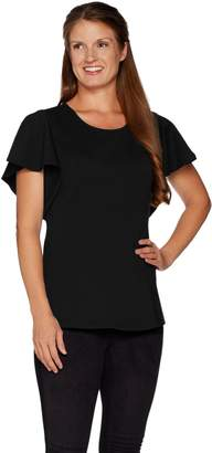 Halston H By H by VIP Ponte Knit Flounce Sleeve Top