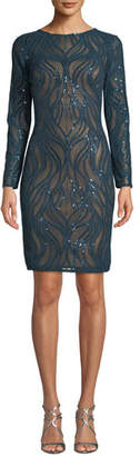 Tadashi Shoji Sequin Long-Sleeve Sheath Dress