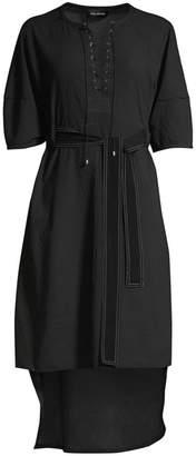 Yigal Azrouel Lantern Sleeve Seersucker Tunic Dress