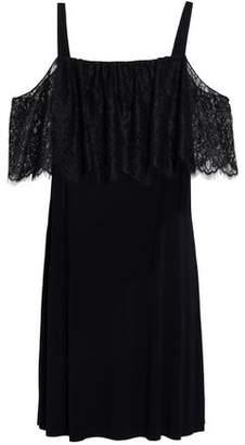 Bailey 44 Dark Horse Cold-Shoulder Lace-Paneled Stretch-Jersey Mini Dress