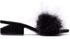 Alexander Wang Lou Feather And Suede Mules