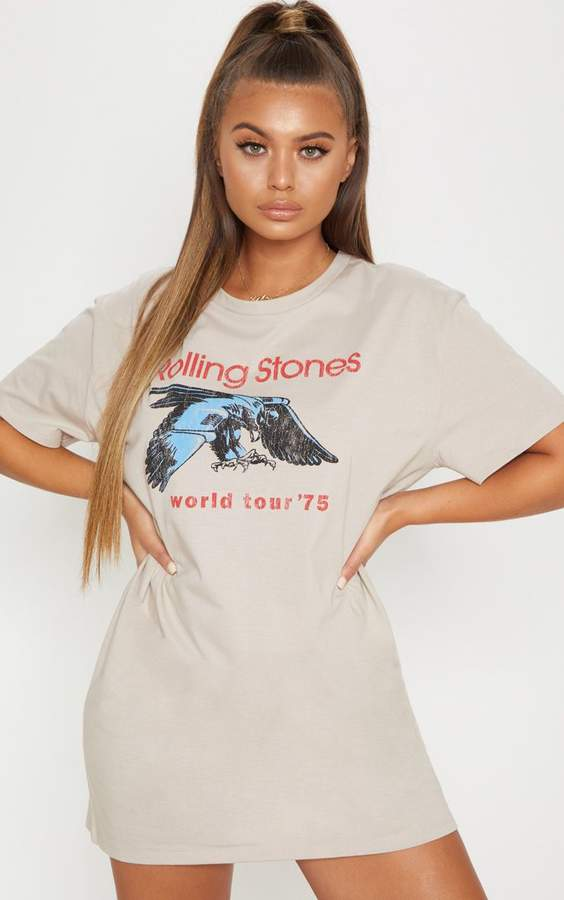 Sand The Rolling Stones '75 Oversized Boyfriend T Shirt Dress