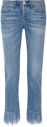 3x1 - Wm3 Crop Fringe Mid-rise Straight-leg Jeans - Mid denim $295 thestylecure.com