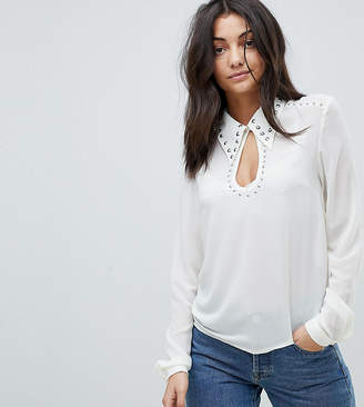 Glamorous Tall Long Sleeve Top With Studded Keyhole Detail