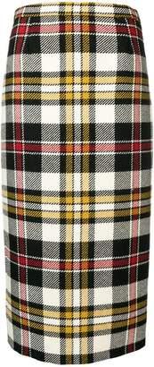 Miu Miu tartan pattern midi skirt