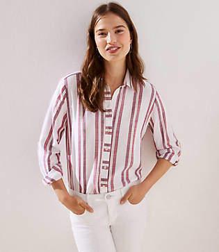 LOFT Striped Button Down Tunic Shirt