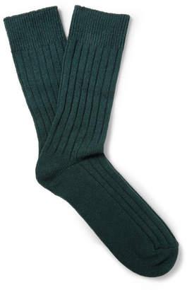 Anderson & Sheppard Ribbed Wool-Blend Socks