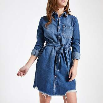 River Island Petite blue denim shirt dress