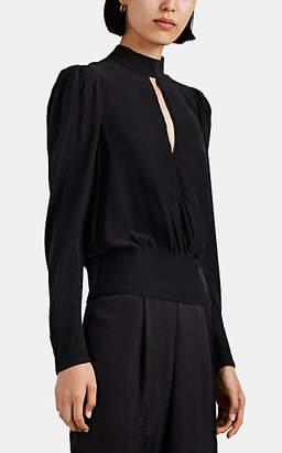 Frame Women's Silk Satin Keyhole Blouse - Black