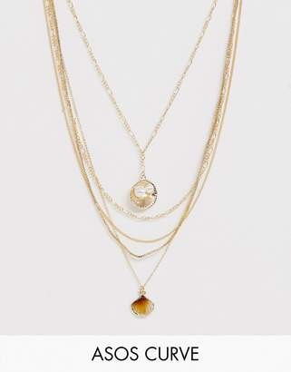 Asos DESIGN Curve multirow necklace with sea shell pendants and mixed chains in gold