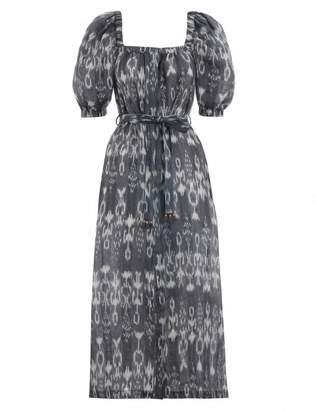 Zimmermann Tali Ikat Square Neck Dress