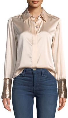 Ramy Brook Talia Silk Button-Down Top with Metallic Cuffs