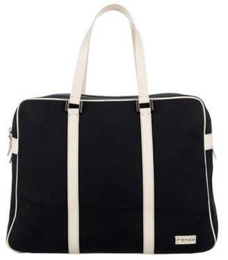 Fendi Leather-Accented Weekender Navy Leather-Accented Weekender