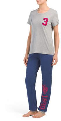 Short Sleeve Pj Set With Logo Pants