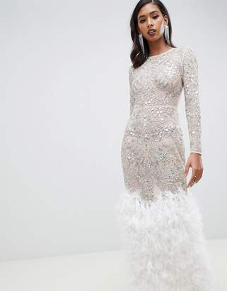Asos DESIGN Embellished Sequin Maxi Dress with Faux Feather Trim