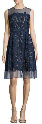Carmen Marc ValvoCarmen Marc Valvo Sleeveless Lace Fit & Flare Cocktail Dress, Midnight