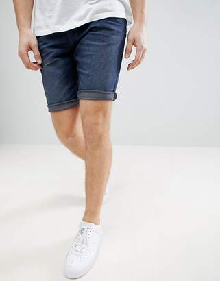 Tom Tailor Slim Fit Denim Shorts In Dark Wash Blue