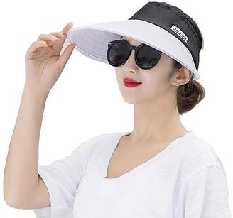 d85a7d9b14373 Jhion Women Sun Hats Wide Brim UV Protection Summer Beach Visor Cap  Packable Visor