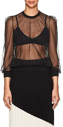 Givenchy Women's Studded Sheer Tulle Blouse