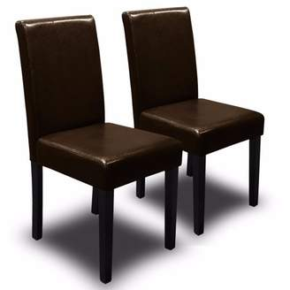XtremepowerUS 2PC Parson Dining Chair PU Solid Wood Leather Padded, Brown