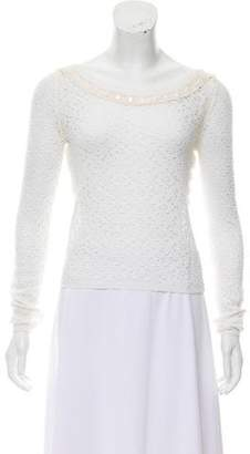 Anna Molinari Lace-Trimmed Long Sleeve Top