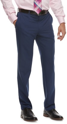 Savile Row Men's Slim-Fit Blue Flat-Front Suit Pants