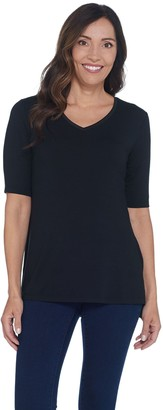 Halston H By H by Essentials V-Neck Elbow Sleeve Top w/ Hi-Low Hem