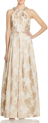 Eliza J Metallic Floral Gown $308 thestylecure.com