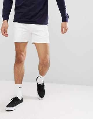 d8218c1c76 Asos Design DESIGN denim shorts in skinny white shorter length