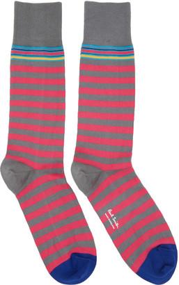Paul Smith Pink & Grey Two Stripe Socks $30 thestylecure.com