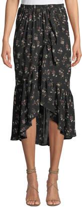 Bobeau Emer Floral Chiffon Wrap Skirt