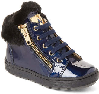 Naturino Toddler/Kids Girls) Blue Faux Fur-Cuffed Lace-Up Boots