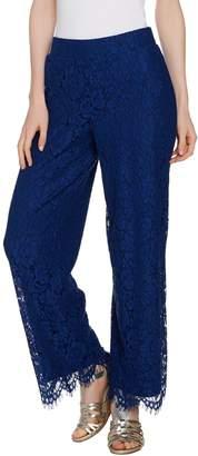 Isaac Mizrahi Live! Regular Floral Lace Wide Leg Pull-On Pants